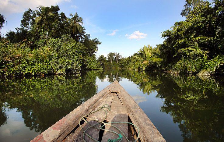 Boat trip on Fo'fola river into the green interior of Nias Island. North Nias Regency, Indonesia. Photo by Bjorn Svensson. www.northniastourism.com