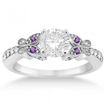 flat custom rings ring flower amathyst amethyst and organic halo engagement