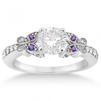 Butterfly Diamond & Amethyst Engagement Ring 14k White Gold ...