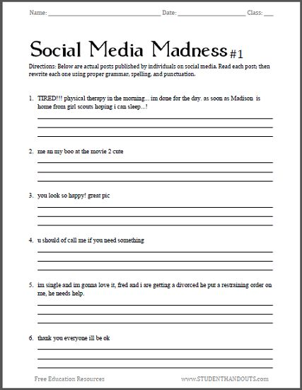 Social Media Madness Worksheets Free To Print Pdf Files Fun With Grammar And Punctuation For Hi Homeschool Worksheets School Worksheets Grammar Worksheets