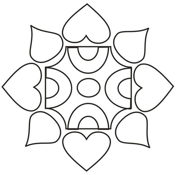 Printable Design Patterns | Rangoli design coloring printable Page for kids 5: Rangoli designs ...