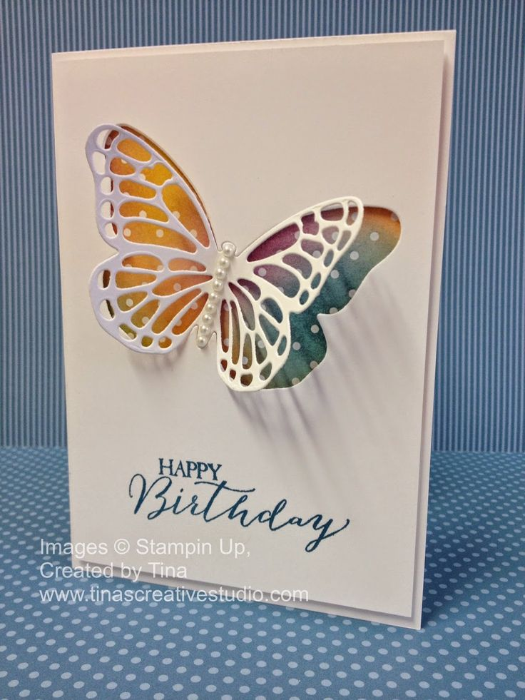 Tina's Creative Studio: Stained Glass Butterfly Birthay Card - Video