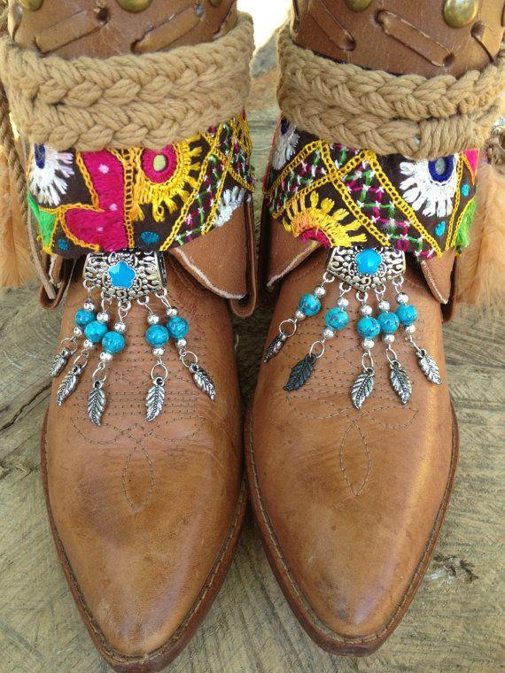 Gypsy Boho Southwestern Native American Cowgirl Boots, Sante Fe Sally Custom order boots