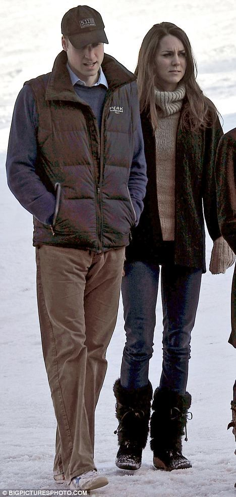 Kate was casually dressed during a winter vacation with Prince William.