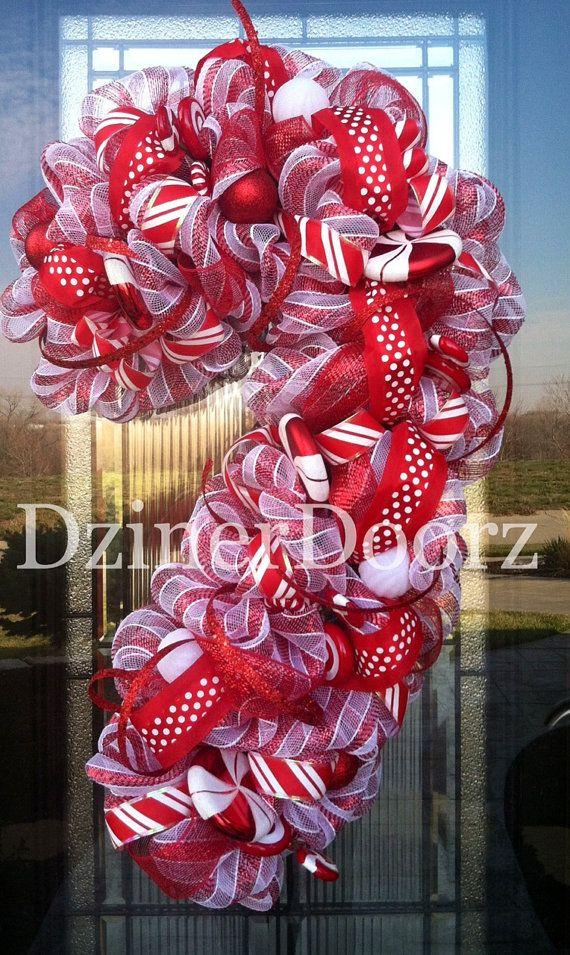 Deluxe Peppermint Candy Cane deco mesh Wreath by DzinerDoorz, $145.00