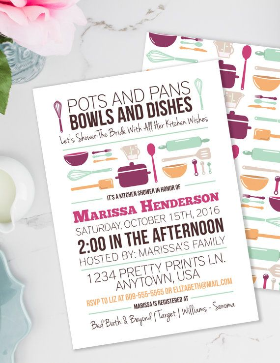 Stock the Kitchen Bridal Shower Invitation in Pink Orange and Mint, perfect for a summer bridal shower