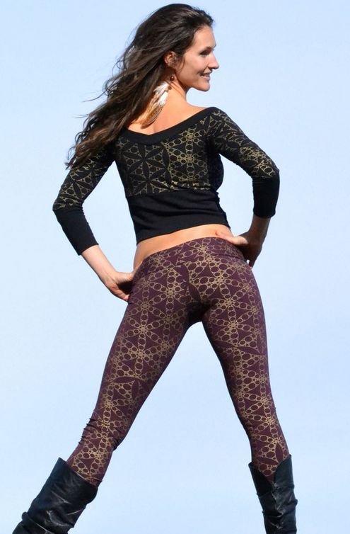 Indira Tights - Golden Flower of Life Printed