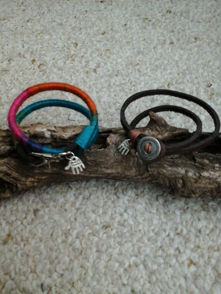 Wrap leather and wool bracelet