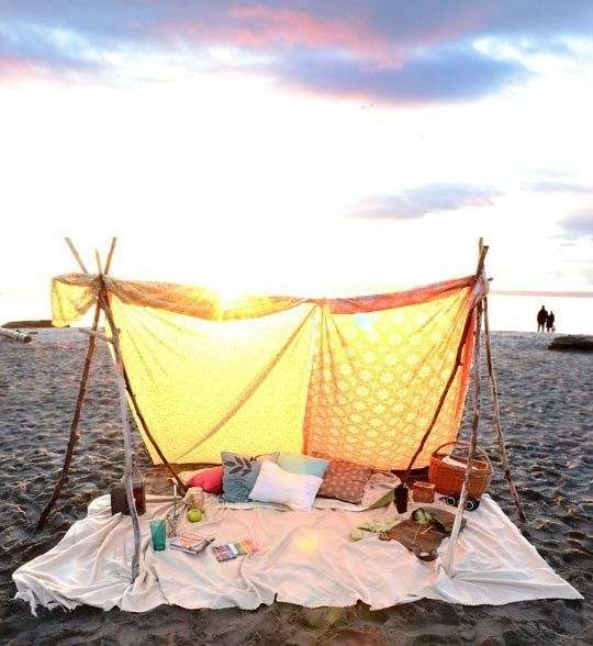 DIY Beach Tent and 40 other Beach ideas, hacks and tips for your trip to the sand