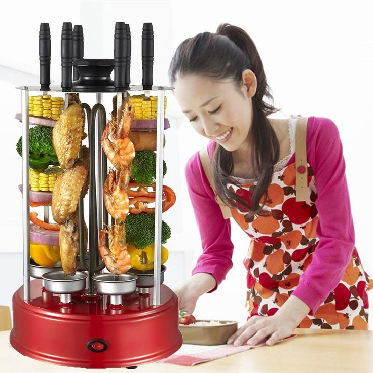 2016 New 6 X forks Vertical automatic rotating vertical electric barbecue grill skewer smokeless BBQ kebab shawarma machine