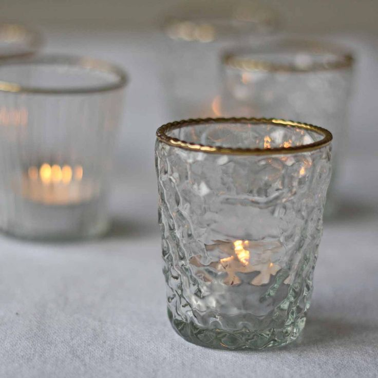 Dimpled Clear Glass Tea Light Holder with Gold Rim - available from The Wedding of my Dreams @theweddingomd
