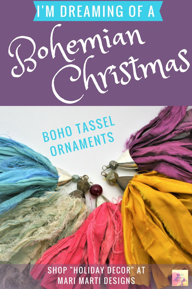 Beautiful #bohemian #Christmas #tree Decor!  Get your tassels on the tree!  handmade and ready to deck your halls!
