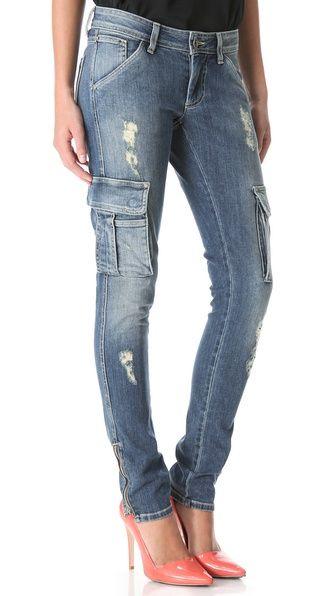alice + olivia Distressed Cargo Jeans