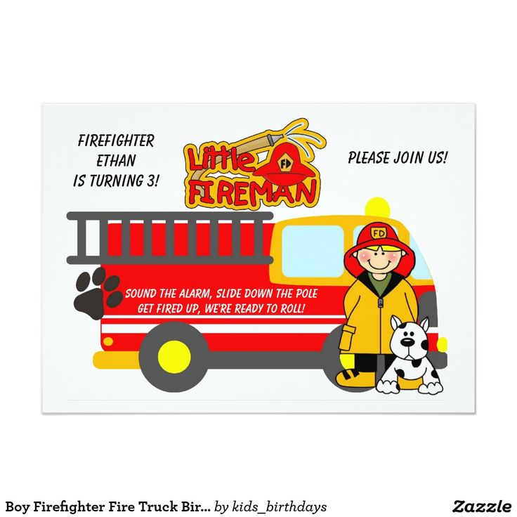 579 best childrens custom birthday invitations images on pinterest boy firefighter fire truck birthday invitation filmwisefo Gallery
