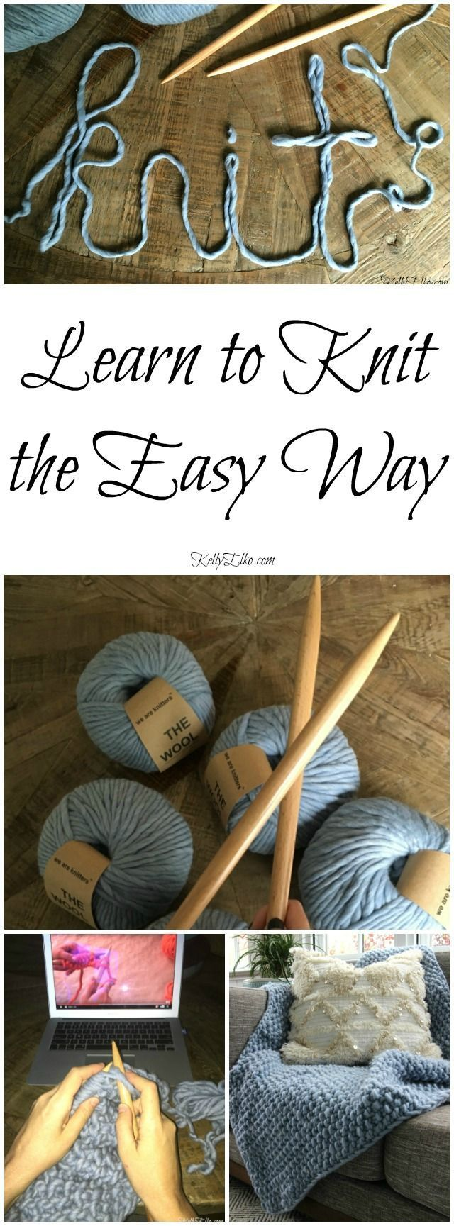 Learn to Knit the Easy Way! Make a chunky wool blanket even if you've never knit before http://kellyelko.comcr