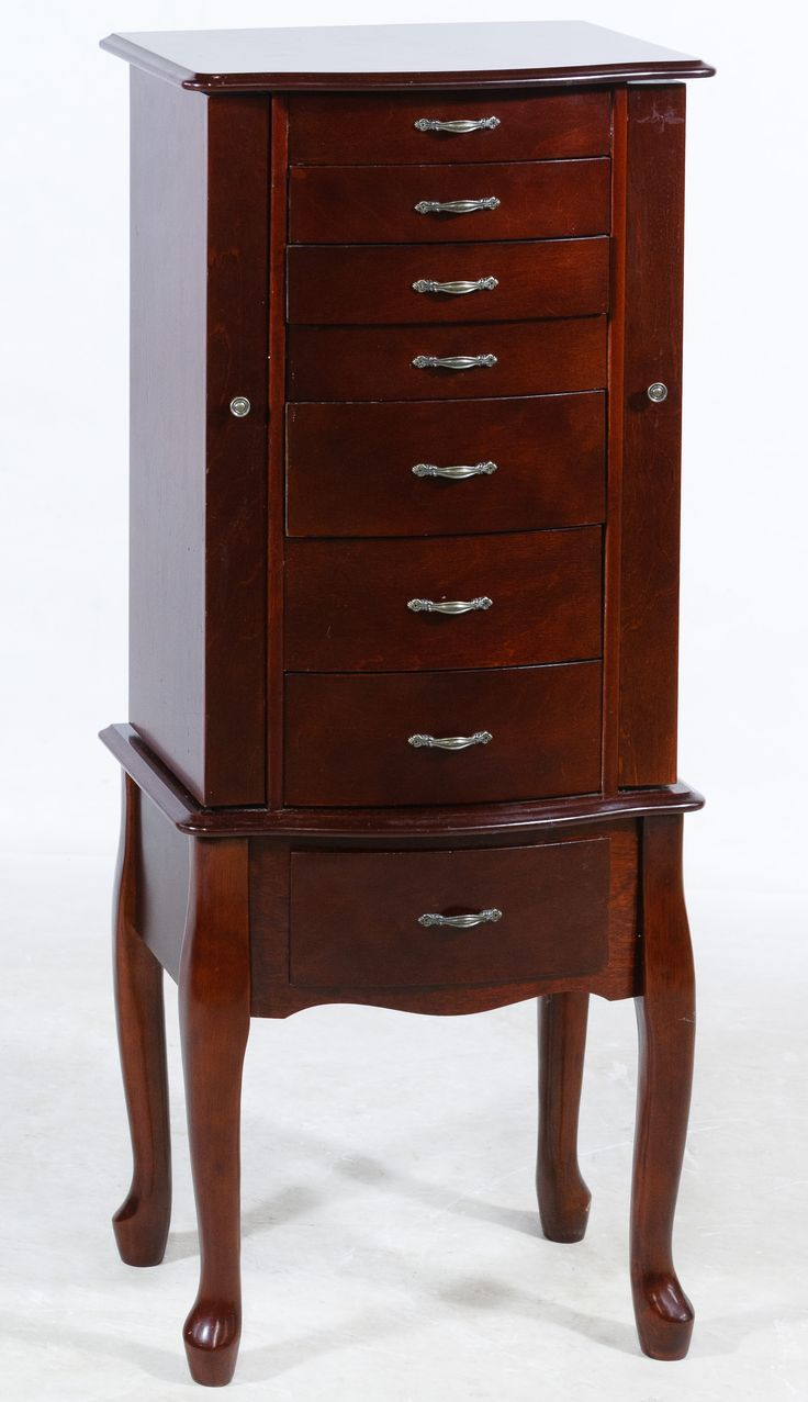 Lot 551: Cherry Stained Floor Standing Jewelry Box; Having eight drawers, lift up top with mirror and swing out sides