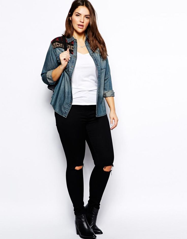 ASOS Curve | ASOS CURVE Ridley Skinny Jean With Busted Knee In Black at ASOS