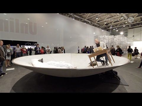"""[Julius von Bismarck] Egocentric System, 2015 - """"Just remember to keep looking at the saucer, not the crowd that will inevitably surround it."""" That's one of the innovations of Egocentric System: it only starts to work if you ignore the outside world, and make a new world inside the work, and eventually, it will feel like you're actually standing still."""