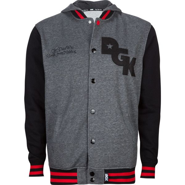 DGK Stagger Mens Varsity Jacket found on Polyvore featuring polyvore, men's fashion, men's clothing, men's outerwear, men's jackets, mens long jacket, mens varsity jacket, mens cotton jacket, mens varsity bomber jacket and mens hooded jacket