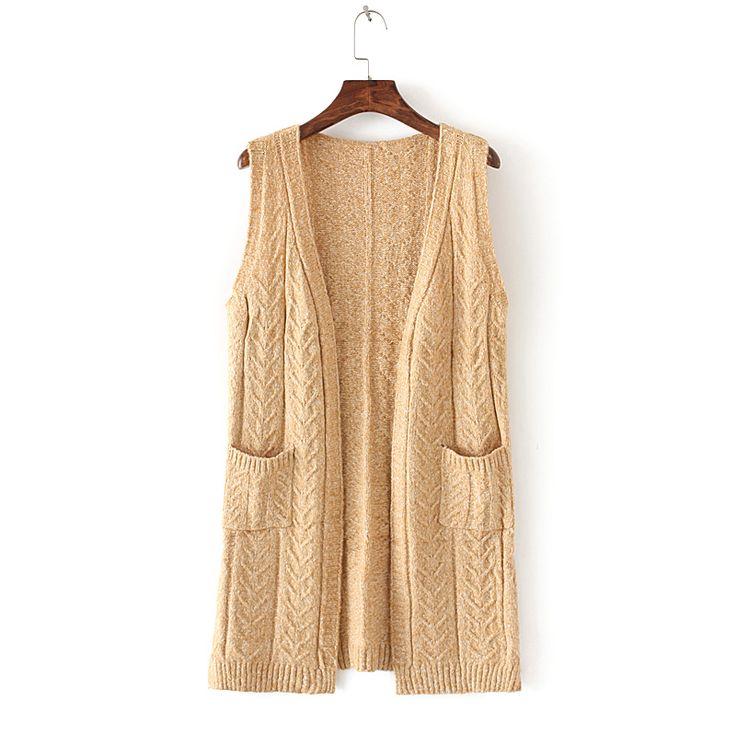 Корейский шерсти вязать кардиган без рукавов с капюшоном жилет жилет Весна и осень длинный свитер жилет свитер женский пальто - Taobao