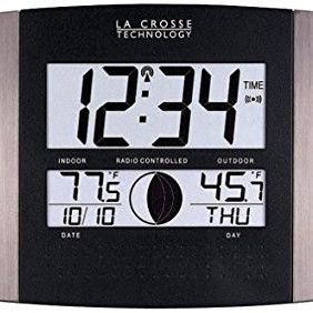 La Crosse Technology Digital Atomic Clock (outdoor Temperature; Brushed Steel Finish)