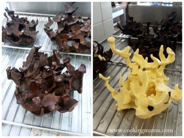 Verser le chocolat sur des glaçons et laisser fondre pour avoir du corail... Waouhh !!