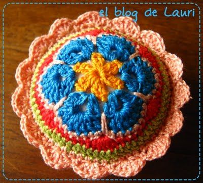 Tutorial on how to make this pretty crochet pincushion!..  And THEN see posts thereafter of several beautiful variations!