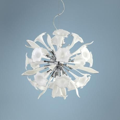 remy 33 wide white glass pendant light - Cyan Canopy Interior