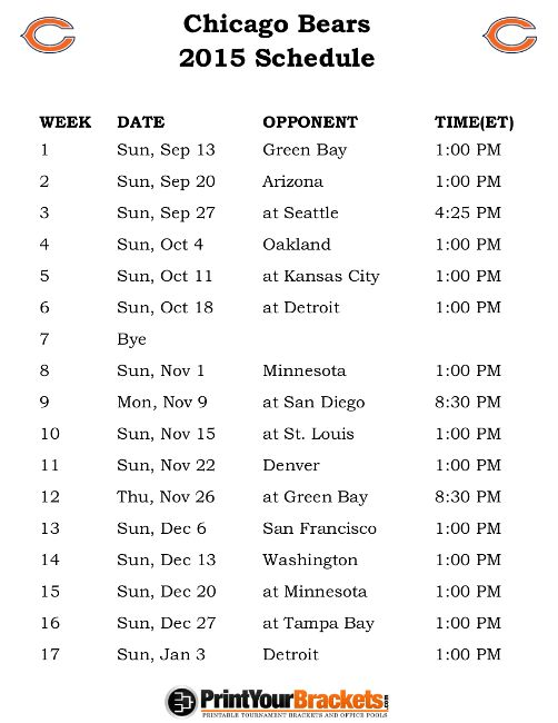 Printable Chicago Bears Schedule - 2015 Football Season