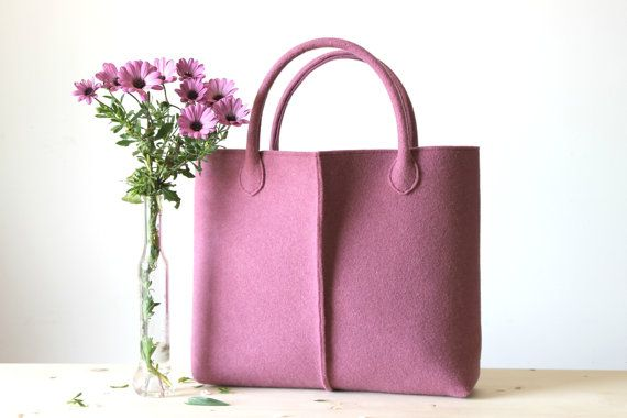 Elegant and Casual mauve felt bag from Italy. Tote bag, Felt bag, Wool felt bag, Felted tote bag, bag for women. - $93.00