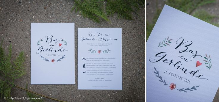 Ontwerp Marjolein Vormgeving. Trouwkaart Bas & Gerlinde #trouwkaart #ontwerp #trouwen #watercolour #katoenpapier #kalligrafie #marjoleinvormgeving #trouwkaarten #uitnodiging #kaart