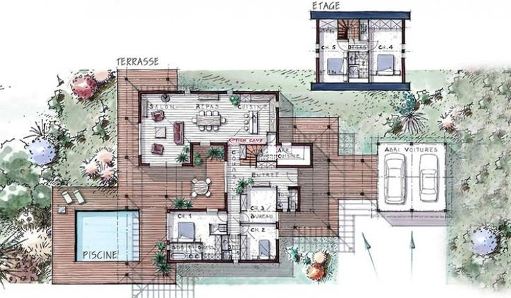 The 25 best villa plan ideas on pinterest mauritius for Plan maison 6 chambres