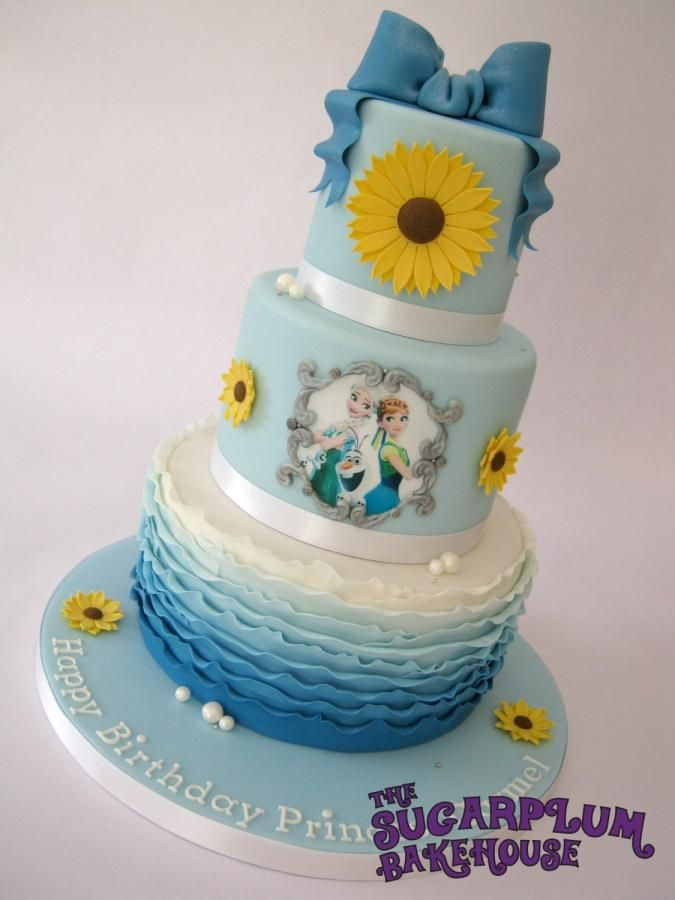 Frozen Fever 3 Tier Birthday Ombre Ruffle Cake - Cake by Sam Harrison