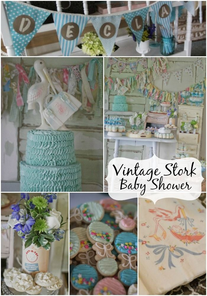 Vintage Stork Baby Shower by Jenny from Jenny Cookies! This shower is over the top amazing! I love the colors, the decor, and especially the theme. STORKS! How sweet is that?