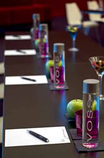 Simple Corporate Meeting/Conference Place Setting. Get the Morning Started Fresh Fruit and a Bottle of Water/Organic Juice. #eventmanagement #corporateevent #eventprofs