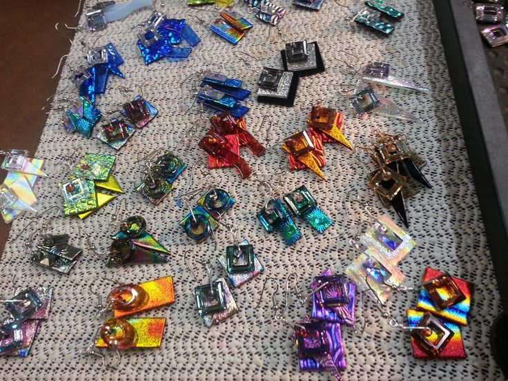 Many new dichroic glass earrings along with swarovski crystals for Bling! See you soon