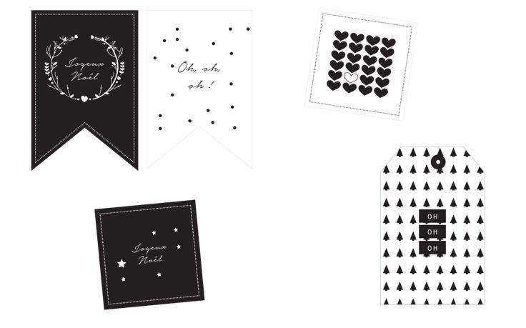 Etiquettes noires et blanches de Noël à imprimer - Vie de Miettes