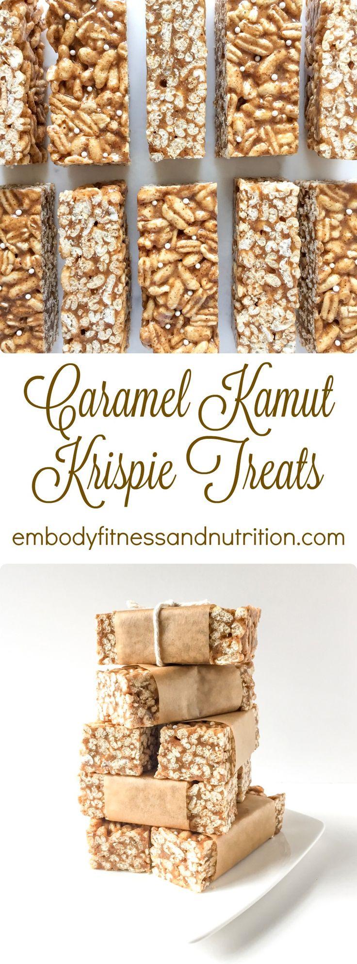 Caramel Kamut Krispie Treats ~ I'll use 3/4C Agave instead of rice syrup