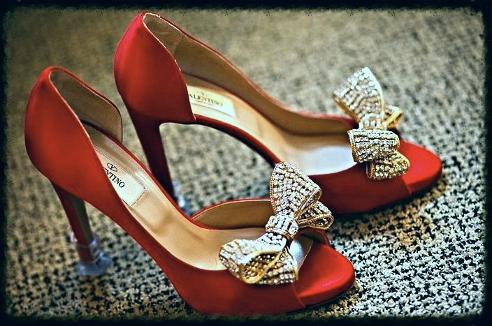 Red satin Valentino peep-toe heels with gold crystal ...