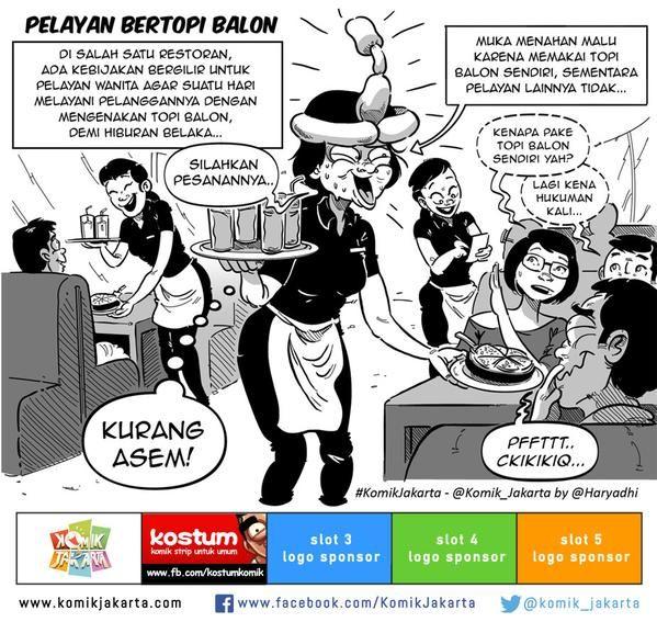 Pelayan Bertopi Balon by @haryadhi #KomikJakarta @mice_cartoon