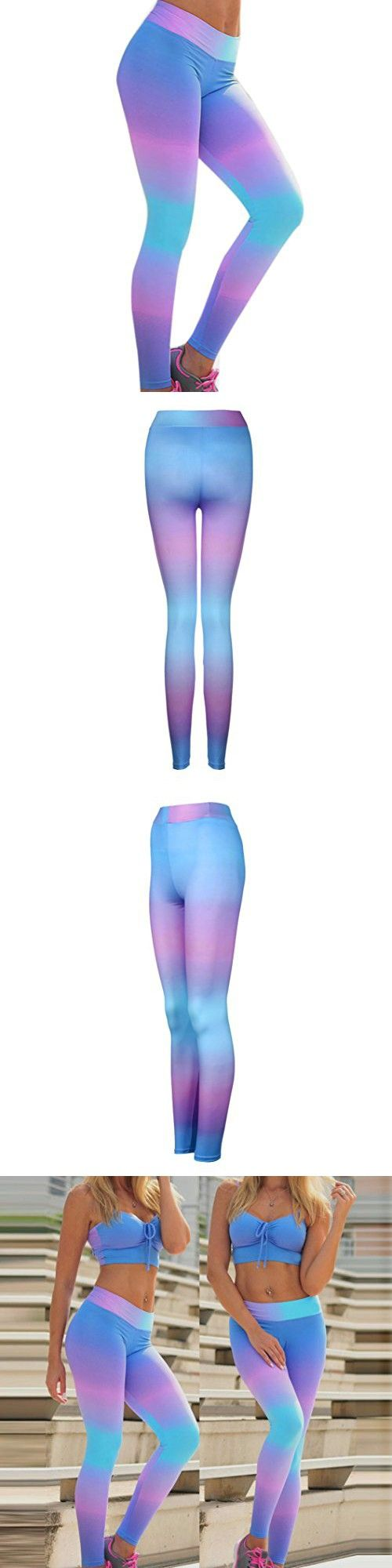 Hot Sale! Women Sports Leggings,Canserin Women's Printing Yoga Workout Gym Sports Running Pants Leggings Fitness Stretch Trousers (S, Purple)