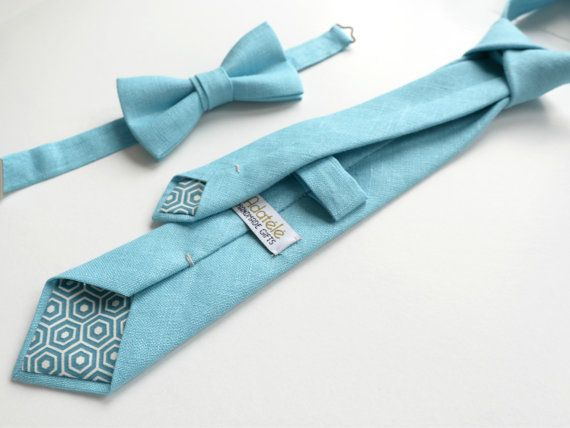 Turquoise Blue Linen Necktie Men's Tie Wedding Ties by Adatele