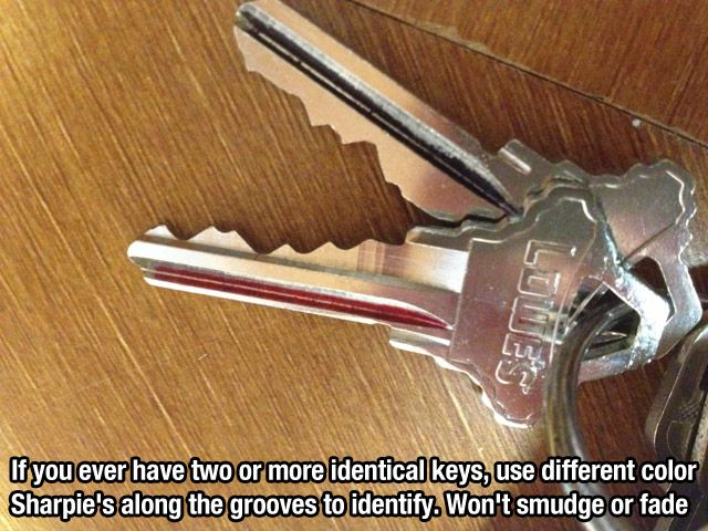 How To Distinguish Between Similar Keys : use different colored sharpie markers in the groves of the keys; wont fade or rub off!