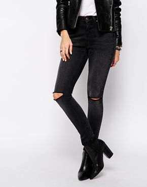 Black knee ripped jeans womens – Global fashion jeans collection