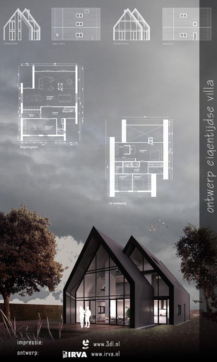 Fraaie eigentijdse vrijstaande woning. Deze woning heeft strakke vormen. De grote glas puien zorgen voor veel natuurlijk licht. Dit in combinatie met de hoge plafonds en de openslaande deuren zorgen voor een binnen – buiten gevoel. Het ontwerp is afkomstig van Irva te Utrecht. Ook de bouwkundige plattegronden en geveltekeningen zijn van de hand van Irva. De 3D impressie is gemaakt door 3DL tekenwerk. #architectuur #vastgoed #ontwerp #woning #wonen #design #3d #artistimpression #3dartist