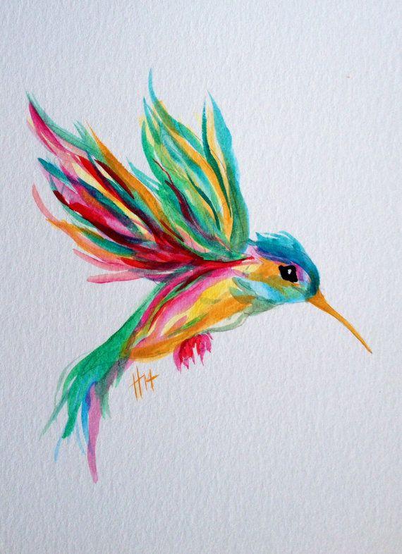 watercolor hummingbird in flight original by shotviatheink on Etsy
