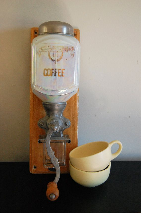 Antique Carnival Glass Wall Mount Coffee Grinder by Homolicious, $200.00