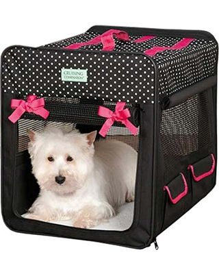 cruising companion cruising companion polka dot collapsible dog crate small black from amazon - Collapsible Dog Crate