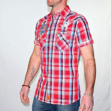 #Soldes chez GGJeans : #chemise à carreaux homme Geographical Norway manches courtes rouge à -20% !