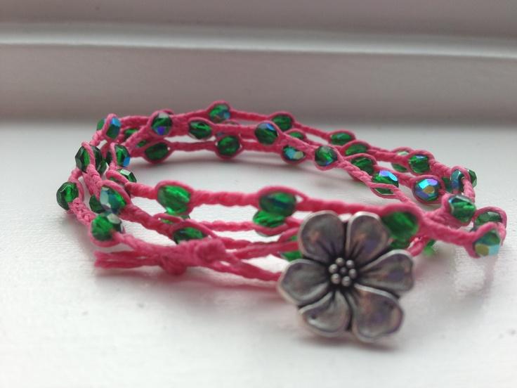 braided Irish linen bracelet with 4mm Czech glass beads